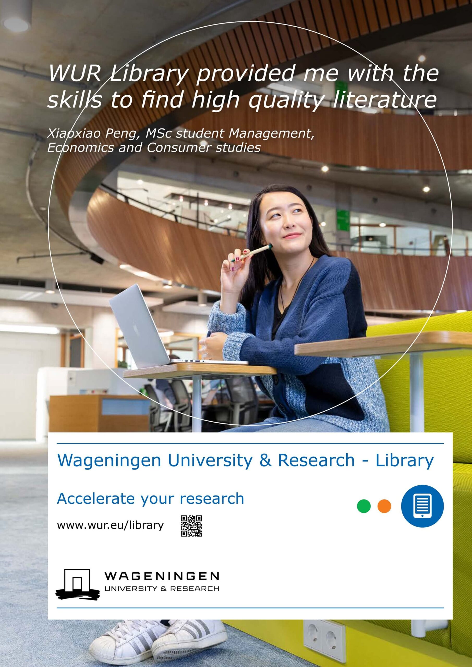 portret student Jurjen Poeles Fotografie campagne beelden Wageningen University & Research Library locatie universiteit bibliotheek testimonial WUR