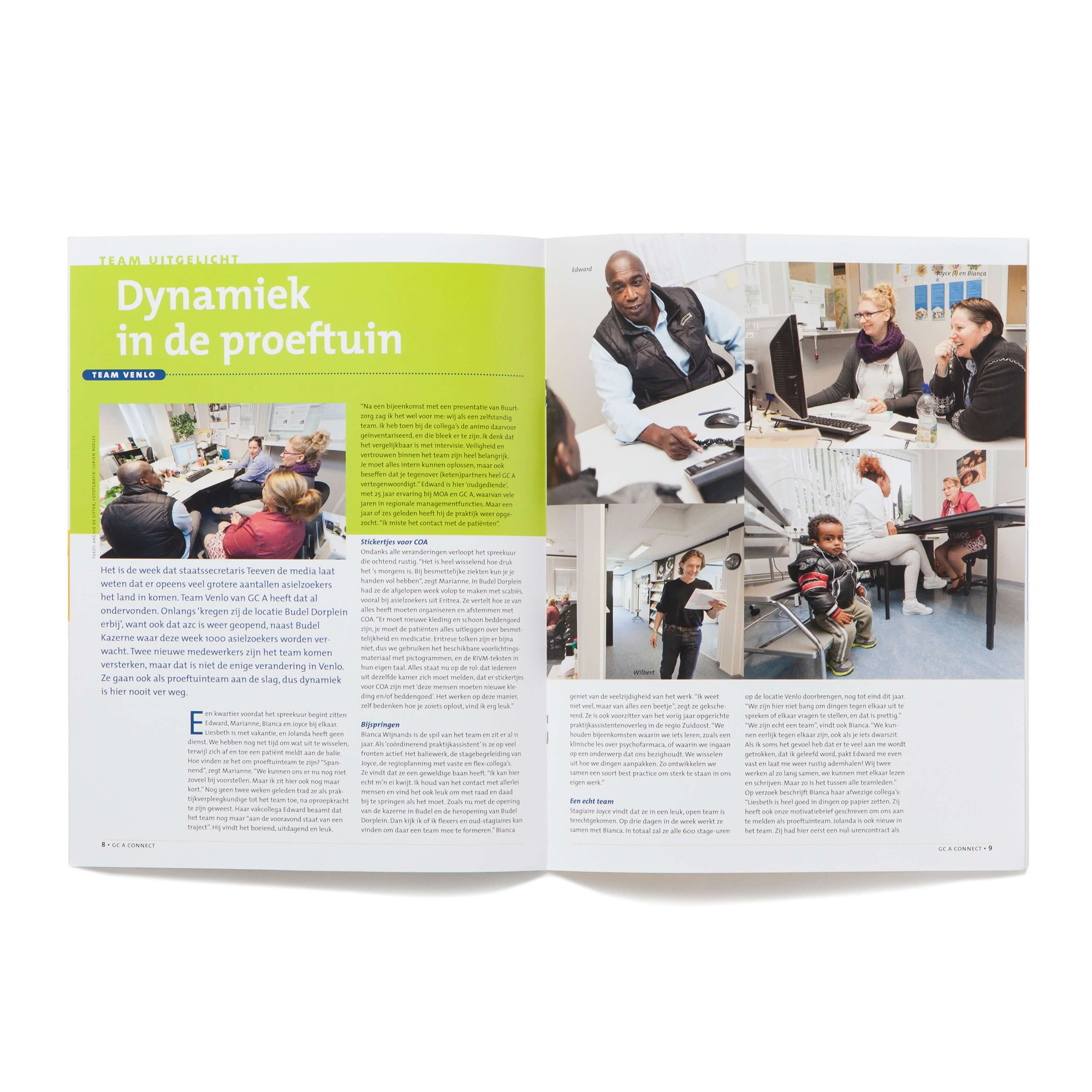 Jurjen Poeles Fotografie magazine GCA Connect vluchteling Gezondheids Centrum Asielzoekers medisch zorg team portret cover reportage